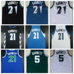 Wholesale Sports Shirts Men - Fast Shipping Wholesale Mens 21 Kevin Garnett Basketball Jersey Cheap Shirt Uniform Sports Blue White Black Throwback 5 Garnett Jerseys