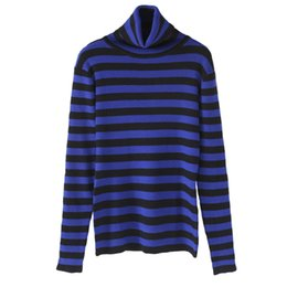 Wholesale Turtleneck Cashmere Jumpers - Wholesale- blue striped cashmere turtleneck stretch sweater pullover jumper brand women's girl's autumn winter fashion high quality sweater