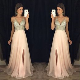 Wholesale Cheap Sheer Nylons - 2017 New Arrival Long A-line Light Pink Chiffon Beaded Evening Dresses Hot Cheap V-Neck Two Straps Prom Party Gowns