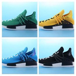 Wholesale Buy Lace Fabric - Newest Pharrell Williams NMD HUMAN RACE shoes Mens Womens In Black,White,Yellow,Green,Blue,White and Grey buy cheap and Free Shipping