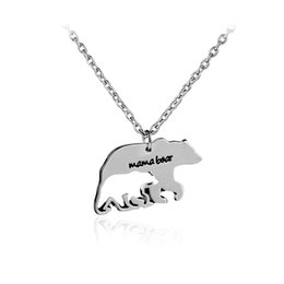 Wholesale Baby Jewelry Charms - 2017 mother's necklace gift mama bear baby bear alloy hollow pendant necklace fashion creative jewelry cute charm animal lovers gift