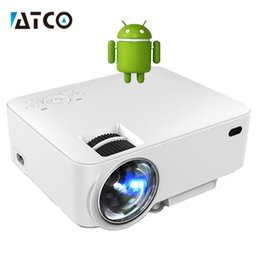 Wholesale Smart Beamer - Wholesale-CT100 hd LED smart Projector WiFi Android 4.4 bluetooth Portable Pocket Mini Proyector beamer HDMI Home Theater cheaper price