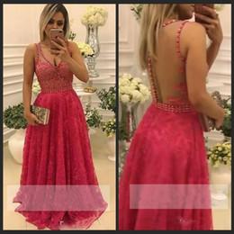 Wholesale Pa Lights - Vestidos de fiesta largos Sleeveless A Line Long Prom Dresses 2018 Deep V Neck Full Lace Beaded Illusion Bodices Sexy Back Formal Evening Pa