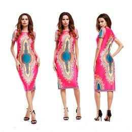 Wholesale China Dress Pattern - guangzhou china apparel industry women short sleeve summer style african dashiki printed pattern midi shift dresses