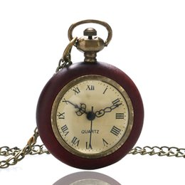 Wholesale Around Circle - Wholesale-Vintage Wood Circle Around Fish Eye Clear Glass Ball Pocket Watch With Chain P13