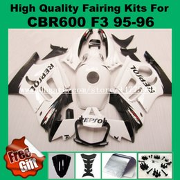 Wholesale White Repsol Fairings - 9gifts fairing kit for Honda CBR600 F3 1995 1996 CBR 600 F3 CBR-600 F3 95 96 fairings bodywork white black REPSOL