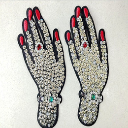 Wholesale Vintage Clothes Accessories - 1 pcs Hand rhinestones beaded patches vintage embroidered fabric applique fashion clothing decoration sew on patch accessories supplie