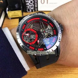Wholesale Mens Skeleton Stainless Steel Mechanical - Super Clone Brand Excalibur Spider 42 RDDBEX0545 RD505SQ Manual Winding Movement Mens Watch Tourbillon Skeleton Rubber Strap New Watches