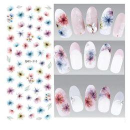 Harajuku nagel online-Wasser Transfer Nägel Kunst Aufkleber Harajuku Elements Bunte Fantacy verschwommen Blumen Nail Wraps Aufkleber Manicura Aufkleber