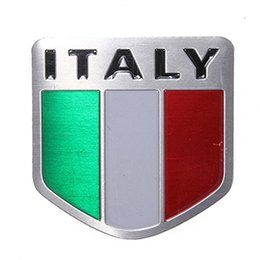 Wholesale Metal Sports Decals - car styling Auto Alloy Metal 3D Emblem Badge Racing Sports Decals Sticker For Italy Italian Flag