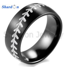 Wholesale Ip Sports - Shardon classic 8mm IP black titanium ring with white Engraved Baseball Pattern for men sport rings