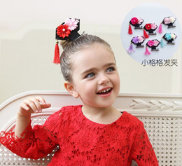 Wholesale Cute Chinese Girls - Yokikids 70671 Chinese Qing Dinasty little Princess Tiaras Girl Hair flower Barrettes funny cute fringing decorations