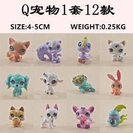 2019 führte kunststoffwaren 12 teile / satz Littlest Pet Shop Q LPS-Littlest Shop Mini Serie Haustier Puppe Tier Cartoon Katze Hund Action-figuren Sammlung Spielzeug Freies Verschiffen