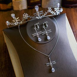 Wholesale Brass Headband - Brand New Wedding Bridal Accessories Queen Zircon Dragonfly Princess Headband Crown Tiara Necklace Earring Jewelry Set Wholesale Retail