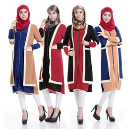 Wholesale Casual Church Dresses - Fake two pieces Dresses Long Sleeves Muslim Women Wear Plus Size Lady Maxi Dress Muslim Church Long Robe