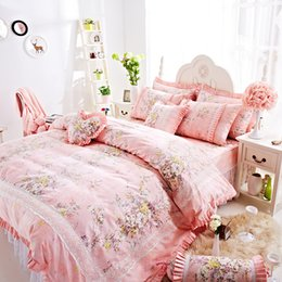 Wholesale Washable Skirting - Newest Luxury Princess Lace bedding set cotton Bedding Duvet cover Bed Skirts bedding gifts for girls and womens