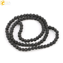CSJA 4 mm Creazione di gioielli tondo pietra preziosa naturale perline pietra nera perline lavica roccia vulcanica materia prima collana braccialetto accessorio E193 A supplier making beaded bracelets da facendo braccialetti in rilievo fornitori