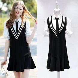 Wholesale Cheap Neck Bow Ties - Student false two pieces dress tie dress bow trumpet dresses prom cheap mermaid mini dress short sleeve