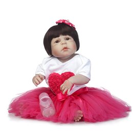 Wholesale Realistic Girl Wig - Wholesale- NPK 23Inch Doll Reborn Full silicone Vinyl Babies For Girls Hair Wig Realistic Alive Soft Baby Doll bonecas reborn