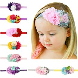 Wholesale Sequin Diamond Hair - Baby Girl Rose Flower Diamond Rhinestone Lace Headbands Children Elastic Sequin Hair Band Bows Party Hair Jewelry Photography Props Gifts