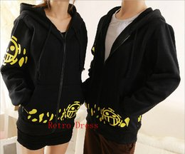 Wholesale One Piece Anime Trafalgar - Wholesale-Hot Sale Japanese Anime Cosplay Clothes One Piece Trafalgar Law Cosplay Costume Black Trafalgar Law Hoodie Jackets Coat