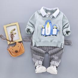 Wholesale Cute Penguin Cartoons - 2017 baby boys autumn long sleeve clothing sets 1-3Tbaby cartoon penguin shirt+striped pants soft cotton 2pcs