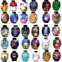 Wholesale 3d Digital Sweatshirt - Unisex 3D Digital Print Sweater Pocket Hooded Sweatshirt Big Pockets Hoodie Sweatshirt