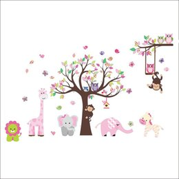 Wholesale Owl Monkey Room Decor - Rainbow Fox Jungle Zoo With Owl Monkey Wall Decal Wallpaper Wall Sticker Wall Decor For Kid Room Nursery Home Decoration Zy 1216