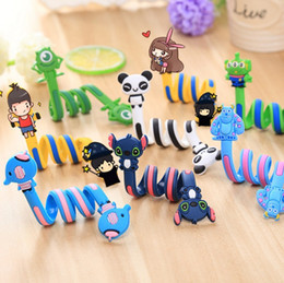 Wholesale Cute Phone Accessories - Wholesale-Cute Animal Long cartoon Cable Winder Headphone The headset bobbin winder Long Earphone Cell Phone Accessories A0408