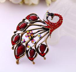 broches de pavão grossista Desconto Frete Grátis-Frete Grátis Elegante Red Peacock Cristal Broche Pin Pedra Vermelha Natural Jóias Accessoies Para As Mulheres Presente