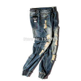 Wholesale Damaged Jeans - Wholesale-2016 NEW fashion street mens destroyed jeans hole casual pants ankle cool green jeans joggger damage jeans rock hiphop
