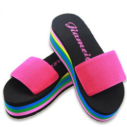 Wholesale Thick Wedge Flip Flops - Wholesale- 2016 Summer High Quality Beach Woman Slippers High Heels Slippers Rainbow Non-Slip Thick Soled Female Platform Wedge Hot Selling