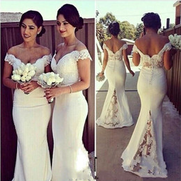 Wholesale Satin Column Bridesmaid Dress - Elegant Long Formal Dresses for Women 2017 Lace Off Shoulder Mermaid Sweep Train Corset Bridesmaid Dresses Covered Button Back Sweep Train