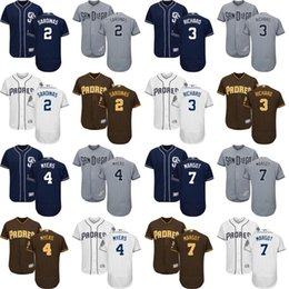 johnny manziel jerseys Promotion 2017 Flex Base Hommes San Diego Padres 2 Johnny Manziel 3 Clayton Richard 4 Wil Myers 7 Manuel Margot maillots de baseball cousus
