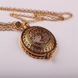 Wholesale Elephant Cabochon - Wholesale-Elephant Hollow Tree Of Life Circle Glass Cabochon Domed Magnifying Glass Necklace Unisex Magnifier Pendant Antique Gold Jewelry