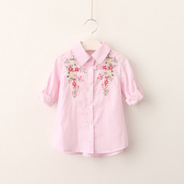 Wholesale Western Embroidered Shirt - Everweekend Girls Floral Embroidered Classic Shirts Vintage Korea Western Fashion Lovely Baby Tops Sweet Children Blouse
