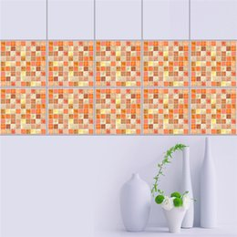 Wholesale Glass Mosaic Wall Design - 10pcs set! New Promotional multicolors waterproof mosaic home house room toilet bathroom kitchen wall decoration decal murals tile stickers