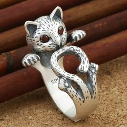 Wholesale Open Ring Cat - Lovely Lucky Cat Thai Silver Rings With Red Rhinestone Eyes Charm Trendy Fashion Women Open Rings For Party Street Snap Jewelry