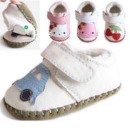Wholesale Shoes Kid Cars - 4 colors soft sole baby infant winter warm shoes 100% Cow Leather baby first walkers little girl boy shoes kids car strawberry designs shoes