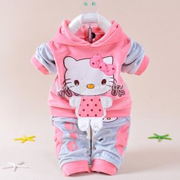 Wholesale Thick Baby Costumes - Wholesale- New Baby Winter Clothing Sets Hello Kitty Hooded Coat+ Pant Twinset Long Sleeve Velvet Thick Newborn Clothes Infants Costume