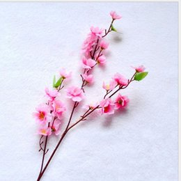 Wholesale artificial blossoms - Small Peach Peach Blossom Simulation Silk Flowers Artificial Flowers Sitting Room Put Decorative Flowers 65cm