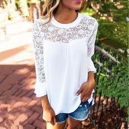 Wholesale Pink Floral Chiffon Shirt - 2017, Europe and the new summer women's casual lace stitching, chiffon shirt, blouse, women's clothing