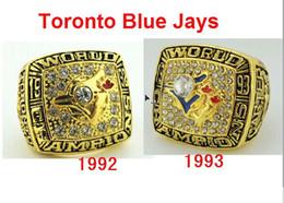 Wholesale Enamal Rings - 1992 1993 Toronto Blue Jays World Series Championship Ring US Size 11 Red Blue Red Enamal Crystal Gold Pleated Big Ring Men Jewelry