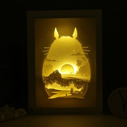Wholesale Photo Light Table - Creative Birthday Gifts Stereo Light and Shadow Paper Carving Silhouette Lamp DIY Handmade Decorative Table Lamp Photo Frame Night Light