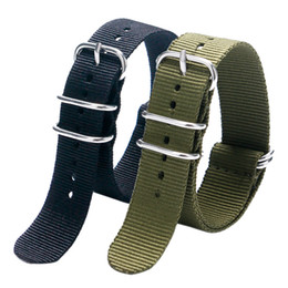 Wholesale Cool Watch Bands Women - Wholesale- 20 22MM Cool Black & Army Green Fabric Nylon Canvas Watch Strap Band With 5 Rings For Sport Watches Men Women BD0130