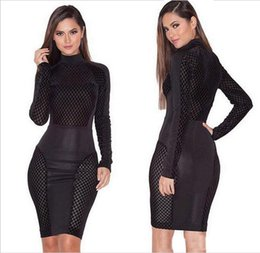 Wholesale Hot Women Nightclub - Hot sell women sexy black and white hollow out bandage Party Dresses fashionable nightclub skirt Casual Dresses