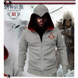 Wholesale Cool Assassins Creed Hoodies - Wholesale-Winter Autumn Fashion Assassin Creed Hoodies Men's Sweatshirt Chadal Hombre Costumes Cool Zipper Men Long Sleeve Hoody Hip Hop