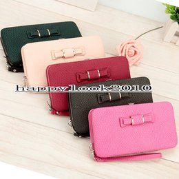 Wholesale Korean Wallet Phone Case - Hot sell Multifunctional PIDANLU wallet bowknot lunch box ladies wallet long pencil case cell phone bag free shipping