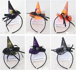 Mini bruja sombrero diadema telaraña puntos velo cap Pascua halloween disfraz disfraz accesorio fiesta tocado regalos de miedo desde fabricantes