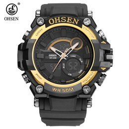 Orologio digitale della fascia di gomma online-2017 Fashion Original OHSEN Quarzo Digital Watch Men 50m Swim Sport Watch Rubber Band Data Day Display Allarme da polso Relógios